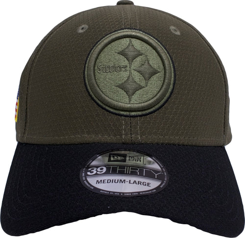 on the front of the stretch fit pittsburgh steelers salute to service fitted cap is the steelers logo in solid green