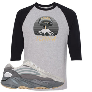 Adidas Yeezy Boost 700 V2 Tephra Sneaker Hook Up Tephra Volcano Sports Gray and Black Raglan T-Shirt