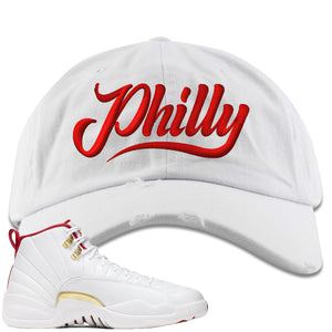 Air Jordan 12 FIBA Sneaker Hook Up Philly white Distressed Dad Hat