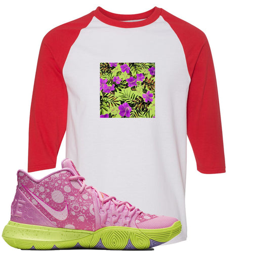 Spongebob Squarepants x Nike Kyrie 5 Patrick Star Sneaker Match Hawaiian Pattern White and Red Raglan T-Shirt