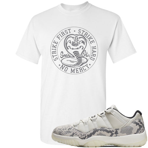 Air Jordan 11 Low Snakeskin Light Bone Sneaker Match Cobra Snake White T-Shirt