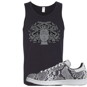 Adidas Stan Smith Grey Snakeskin Sneaker Hook Up Medusa Black Mens Tank Top