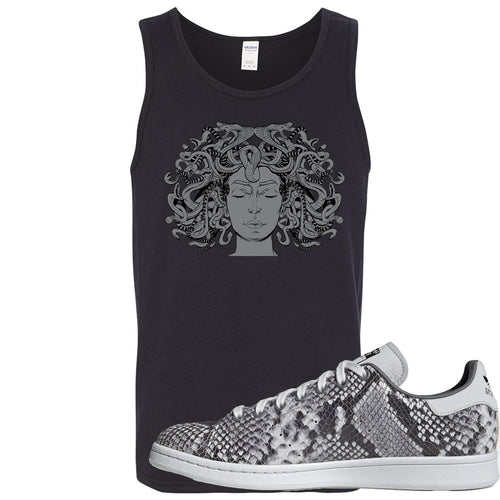 Adidas Stan Smith Grey Snakeskin Sneaker Match Medusa Black Mens Tank Top