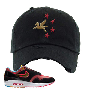 Air Max 1 NYC Chinatown Pegasus With Chinese Stars Black Distressed Dad Hat To Match Sneakers