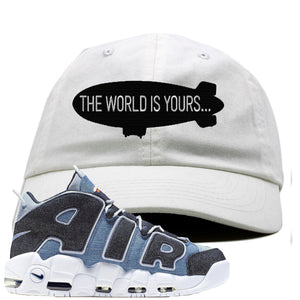 Nike Air More Uptempo Denim Sneaker Hook Up The World is Yours Blimp White Dad Hat