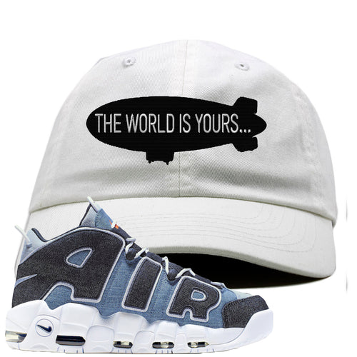 Nike Air More Uptempo Denim Sneaker Match The World is Yours Blimp White Dad Hat