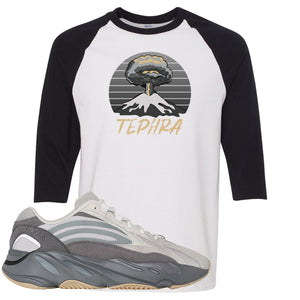 Adidas Yeezy Boost 700 V2 Tephra Sneaker Hook Up Tephra Volcano White and Black Raglan T-Shirt