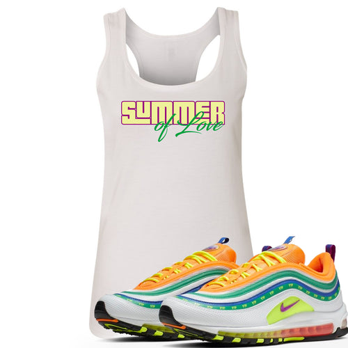 "Air Max 97 Summer of Love Sneaker Match ""Summer of Love"" White Womens Tank Top"