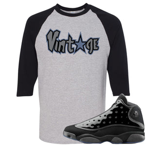 Air Jordan 13 Cap and Gown Sneaker Hook Up Vintage Star Logo Black and Sports Grey Ragalan T-Shirt