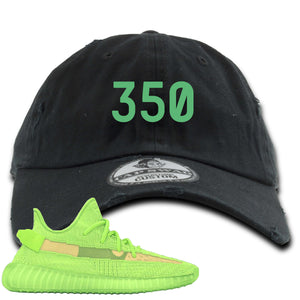 "Yeezy Boost 350 V2 Glow Sneaker Hook Up ""350"" Black Distressed Dad Hat"