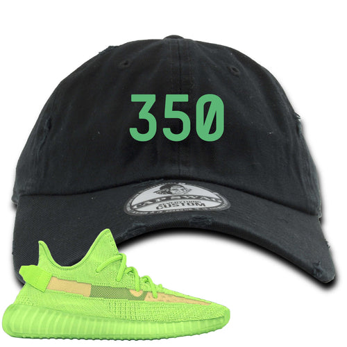 "Yeezy Boost 350 V2 Glow Sneaker Match ""350"" Black Distressed Dad Hat"