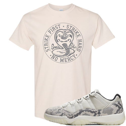 Air Jordan 11 Low Snakeskin Light Bone Sneaker Match Cobra Snake Natural T-Shirt