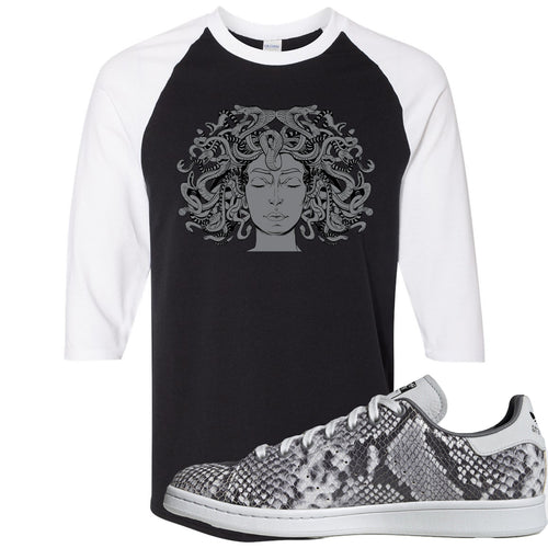 Adidas Stan Smith Grey Snakeskin Sneaker Match Medusa Black and White Raglan T-Shirt