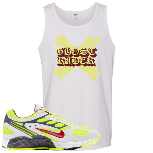 Nike Air Ghost Racer Neon Yellow Sneaker Match Ghost X Rider White Mens Tank Top