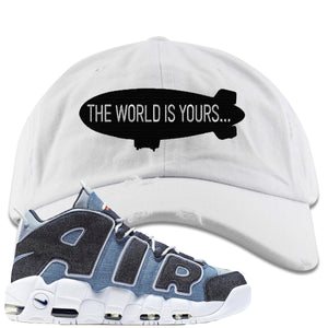 Nike Air More Uptempo Denim Sneaker Hook Up The World is Yours Blimp White Distressed Dad Hat