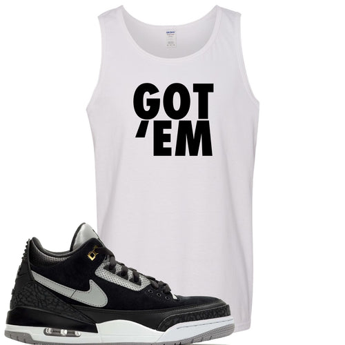 Air Jordan 3 Tinker Black Cement Sneaker Match Got Em White Mens Tank Top
