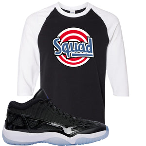 Air Jordan 11 Low IE Space Jam Sneaker Hook Up Squad Black and White Raglan T-Shirt
