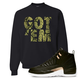 Jordan 12 WMNS Reptile Sneaker Hook Up Got Em Black Sweater