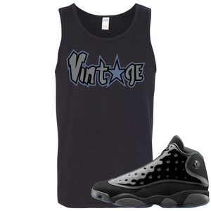 Air Jordan 13 Cap and Gown Sneaker Hook Up Vintage Star Logo Black Mens Tank Top