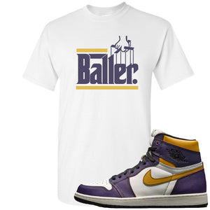 Nike SB x Air Jordan 1 OG Court Purple Sneaker Hook Up Baller White T-Shirt