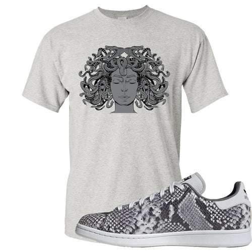 Adidas Stan Smith Grey Snakeskin Sneaker Match Medusa Sports Gray T-Shirt
