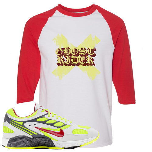 Nike Air Ghost Racer Neon Yellow Sneaker Match Ghost X Rider White and Red Raglan T-Shirt