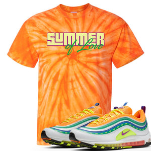 "Air Max 97 Summer of Love Sneaker Hook Up ""Summer of Love"" Orange Tie Dye T-Shirt"