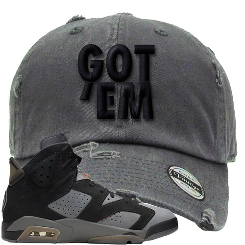Air Jordan 6 PSG Sneaker Match Got Em Dark Gray Distressed Dad Hat