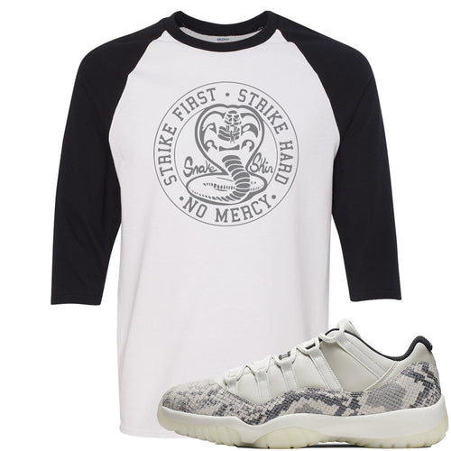 Air Jordan 11 Low Snakeskin Light Bone Sneaker Match Cobra Snake White and Black Raglan T-Shirt