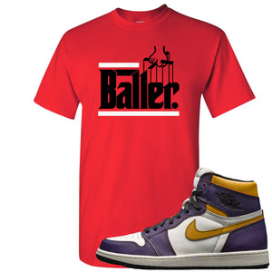 Nike SB x Air Jordan 1 OG Court Purple Sneaker Hook Up Baller Red T-Shirt