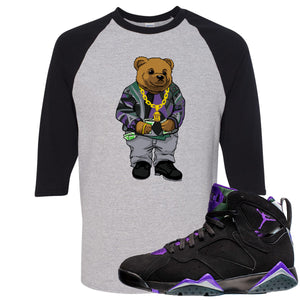 Air Jordan 7 Ray Allen Sneaker Hook Up Sweater Bear Sports Gray and Black Raglan T-Shirt