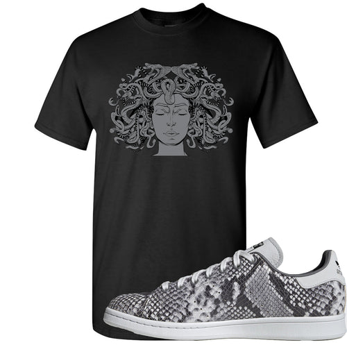 Adidas Stan Smith Grey Snakeskin Sneaker Match Medusa Black T-Shirt