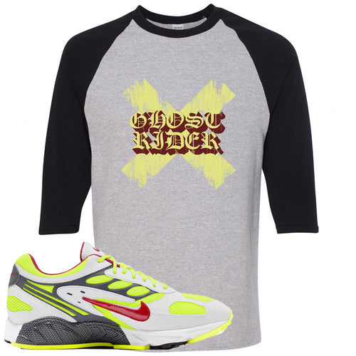 Nike Air Ghost Racer Neon Yellow Sneaker Match Ghost X Rider Sports Grey and Black Raglan T-Shirt