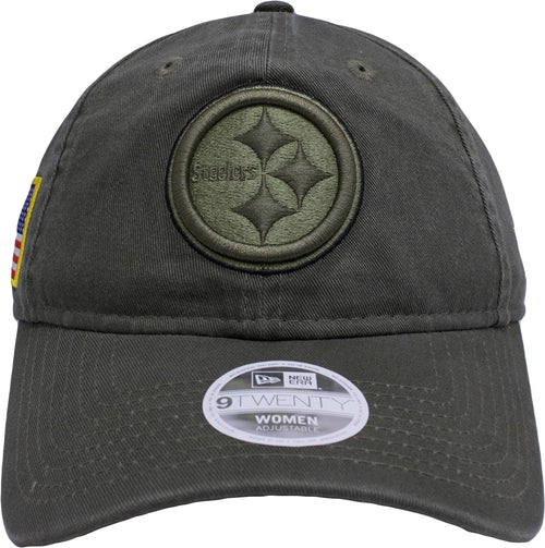the pittsburgh steelers salute to service dad hat is solid military green a4d523ab6b3