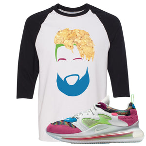 OBJ x Nike Air Max 720 Sneaker Hook Up OBJ Head White and Black Raglan T-Shirt