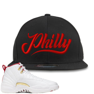 Air Jordan 12 FIBA Sneaker Hook Up Philly Black Snapback