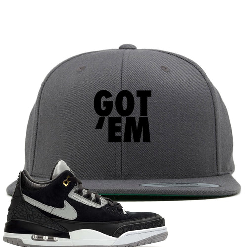 Air Jordan 3 Tinker Black Cement Sneaker Match Got Em Dark Gray Snapback