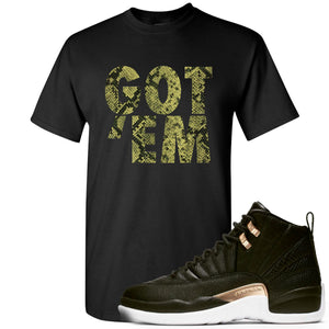 Jordan 12 WMNS Reptile Sneaker Hook Up Got Em Black T-Shirt