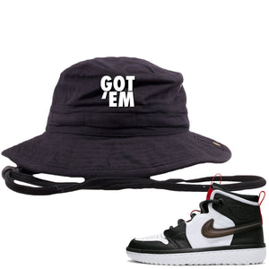 Air Jordan 1 High React White Black Sneaker Hook Up Got Em Black Bucket Hat