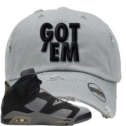 Air Jordan 6 PSG Sneaker Match Got Em Light Gray Distressed Dad Hat