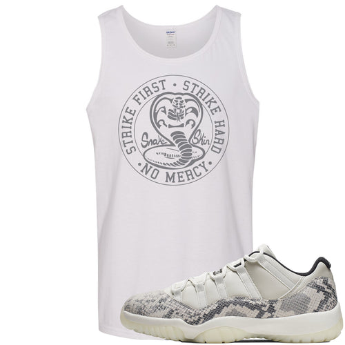 Air Jordan 11 Low Snakeskin Light Bone Sneaker Match Cobra Snake White Mens Tank Top