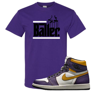Nike SB x Air Jordan 1 OG Court Purple Sneaker Hook Up Baller Purple T-Shirt