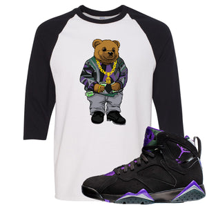 Air Jordan 7 Ray Allen Sneaker Hook Up Sweater Bear White and Black Raglan T-Shirt
