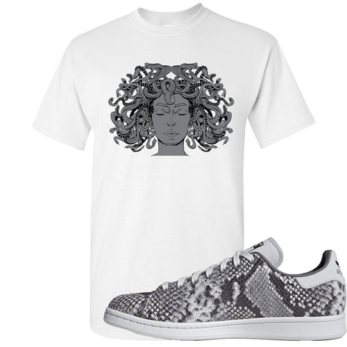 Adidas Stan Smith Grey Snakeskin Sneaker Match Medusa White T-Shirt