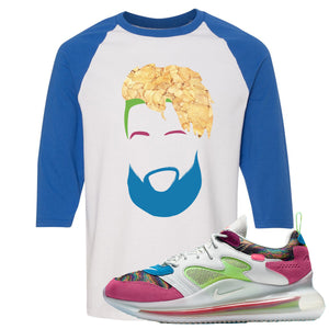 OBJ x Nike Air Max 720 Sneaker Hook Up OBJ Head White and Blue Raglan T-Shirt