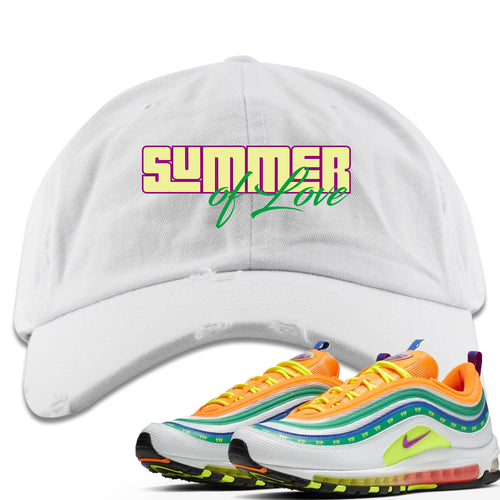 "Air Max 97 Summer of Love Sneaker Match ""Summer of Love"" White Distressed Dad Hat"