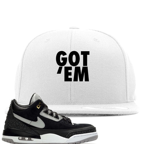 Air Jordan 3 Tinker Black Cement Sneaker Match Got Em White Snapback