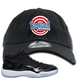 Air Jordan 11 Low IE Space Jam Sneaker Hook Up Squad Black Distressed Dad Hat