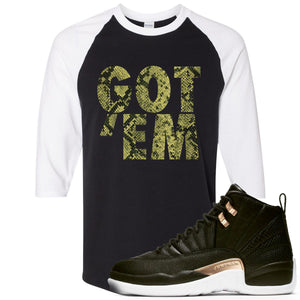 Jordan 12 WMNS Reptile Sneaker Hook Up Got Em Black and White Ragalan T-Shirt