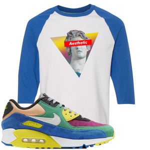Nike Air Max 90 Viotech 2.0 Sneaker Hook Up Aesthetic White and Royal Blue Raglan T-Shirt